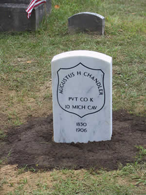 Augustus Chandler, new headstone in place